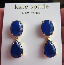 Kate Spade AUTHENTIC PLAZA ATHENEE SAPPHIRE BLUE FACETED DROP EARRINGS DANGLE