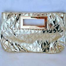 "Michael Kors Signature Womens Pocketbook Gold Clutch Purse Snap 8.5"" Small MK"