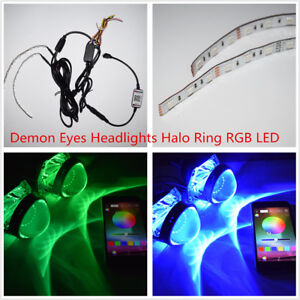 Bluetooth Remote Control RGB LED Demon Eyes Headlights Halo Ring Projector Lens