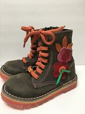 Naartjie Little Girls Zipper Side Lace Up Front Floral Boots Size 8 Adorable