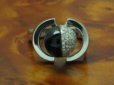 18kt 750 White Gold Ring with 0,28ct Brilliant & 5,00ct Onyx Trim/Diamond/ RG56