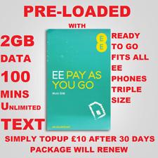 EE Triple MICRO STANDARD NANO SIM CARD PAY AS YOU GO 2GB DATA 100 MINS 4GEE