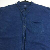Falls Creek Men's Short Sleeve Button Up Shirt XXXL 3XL Blue One Pocket Casual