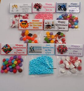 20 Personalised Sweet Bag WRAPPERS Retirement Party Favours  POSTED 1ST CLASS