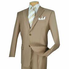 VINCI Men's Khaki 2 Button Classic Fit Business Suit w/ Pleated Pants NEW