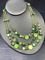 """Necklace Bohemian Mother Of Pearl Flower Strand Necklace Spring Green  18"""""""