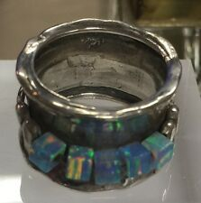 Pretty Sterling Silver Ring With Aqua Aura Marine Square Beads Tiny Handmade