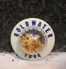 1964 BARRY GOLDWATER Bubble Dome Golden Flakes 3-D FOR PRESIDENT CAMPAIGN BUTTON