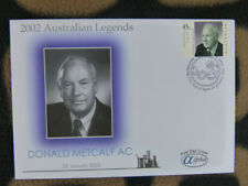 SCARCE ALPHA FIRST DAY COVER - 2002 AUSTRALIAN LEGENDS. DONALD METCALF