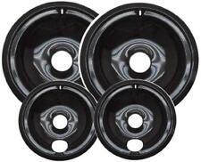 "Range Stove Drip Pans Porcelain Burner Bowls 4pc Set (2x6"" & 2x8"") USA"