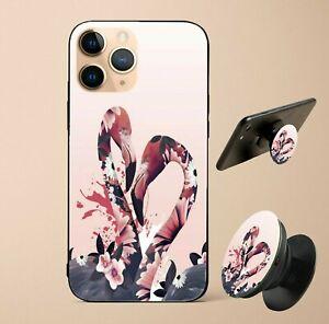 Coque Etui Marguerite flamingo fleur avec support anneau doigt téléphone Selfie