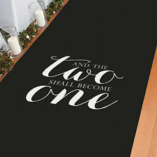 And Two Become One Black Aisle Runner - Party Decor - 1 Piece