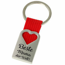 Beste Mama Mutter der Welt Schlüsselanhänger Herz aus Metall mit Ring