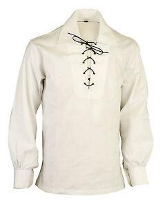 Weiß Schottische Hochland Jacobite Jakobinische Ghillie Kilt Hemd