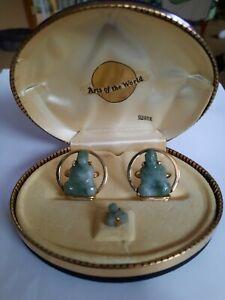 Vintage Jade Buddha Swank Cufflinks And Tie Clasp