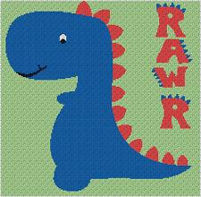 DinoRAWR Blanket - Dinosaur Throw - C2C Graphghan Crochet Pattern