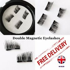 Double Magnetic Eyelashes 3D False Eye Lashes Natural Magnet Extension 2 Pairs