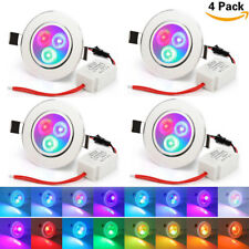4PcsX 5W RGB LED Recessed Ceiling Light Panel Downlight Lamp Color Changing Lamp