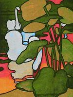 PAINTING SWAN RIVER PLANTS GREEN PINK ART POSTER PRINT LV2913