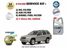 FOR JEEP GRAND CHEROKEE 2.7DT 2001-2004 OIL AIR FUEL 3 FILTER SET + 7 LITRES OIL