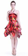 Tropical Hawaiian Luau Dress Cruise Gypsy Uneven Beach Sunset Red Scenery