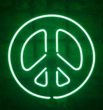 "12""x12"" Peace Symbol Neon Sign Light Beer Bar Pub Lamp Glass Gift Open"