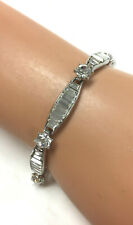 Set Faceted Crystal Links Bracelet Nolan Miller Silvertone Channel & Prong