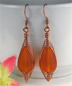 Orange SEA GLASS Teardrop COPPER Weave Wire Dangle Earrings USA HANDMADE
