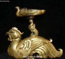 Purple Bronze 24K Gold Phoenix Bird Fenghuang Candle Holder Candlestick Statue