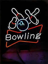 "Neon Light Sign 24""x20"" Bowling Bowlings Open Game Room Glass Decor Bar Lamp"