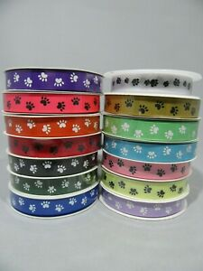 2 metre or Full Roll (20 mtrs) 16mm Paw Print Grosgrain Ribbon Dog Pet Ribbed