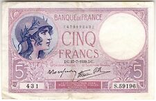 1939 France 5 Franc Note***Collectors***