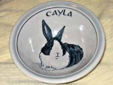 CAYLA ! Here is your New Unused CEREAL SOUP BOWL beautiful RABBIT mono HANDCRAFT