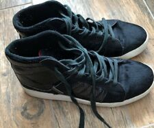 "Supra  Mens US Size 9 Black Canvas High Tops With ""Patent"" And Horsehair Effect"