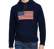 Medium Ralph Lauren Polo Bear USA Flag Knit Navy Hooded Sweater M Hoodie Vintage
