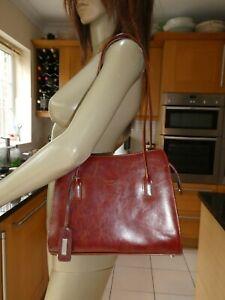 *ABBACINO* Ladies Brown Leather Double Handle ZIP UP HANDBAG VGC rrp£180