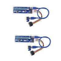 2 Stück USB3.0 PCI-E Express 1x To 16x Extender Riser Karte Adapter SATA Kabel