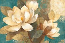 Turquoise Magnolias Art Poster Print by Albena Hristova, 36x24