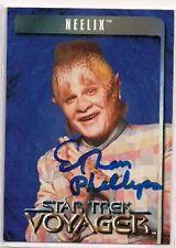Star Trek Signed Card Auto Voyager Action Figure Card Neelix Ethan Phillips v177