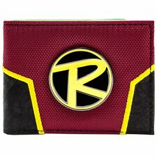 NEW OFFICIAL DC COMICS BATMAN ROBIN LOGO CREST RED ID & CARD BI-FOLD WALLET