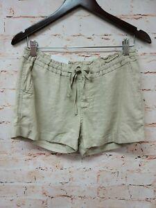 Old Navy Womens Linen Shorts Sz 4 Beige Drawstring Waist Cuffed New