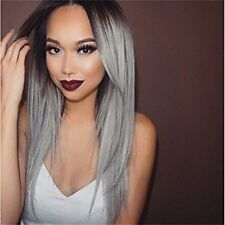 Straight Long Hair Wig Grey Ombre Synthetic Front Lace Wig Cosplay Costume Party