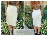 VINTAGE ESCADA MARGARETHA LEY BEIGE BACK PLEAT WOOL STRAIGHT PENCIL SKIRT  42 12