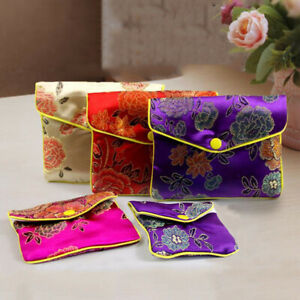 Chinese Brocade Silk Embroidery Sachet Bag Jewelry Storage Pouch Case Coin Purse