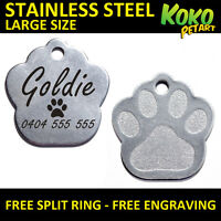 Large Stainless Steel Paw Pet Tag Personalised Engraving Dog Cat Pets Tags
