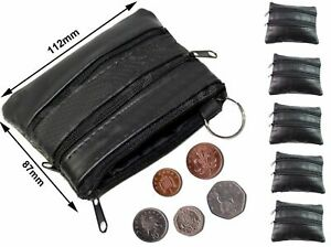 New Mens & Ladies | SMALL Soft REAL Leather Coin Purse - Key Wallet | FOUR Zips