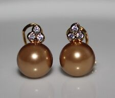 Luxurious Gold Pearl Cubic Zirconia 18Ct Yellow Gold Plated Stud Earrings UK