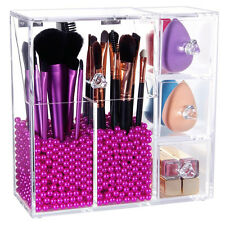 Lifewit  Brush Holder Dustproof Box Makeup Acrylic Organizer With Rosy Peals