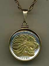 Ethiopia 50 Cent Lion Coin Gold on Silver Pendant + Necklace Holiday Gifts Set