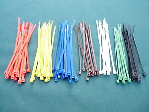 Cable/Zip Ties 4.8mm x 200mm Nylon 66/Plastic Mixed or Single Colours 100 Pack